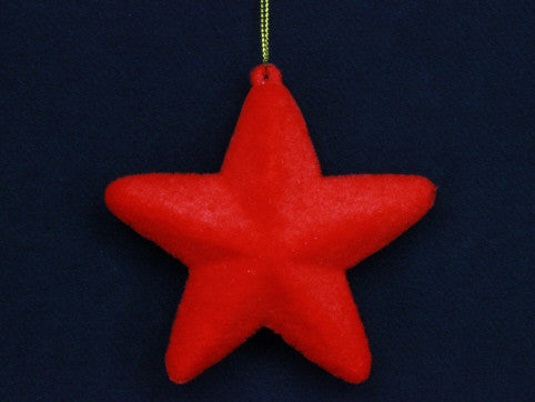 Red Flock Star Tree Decoration