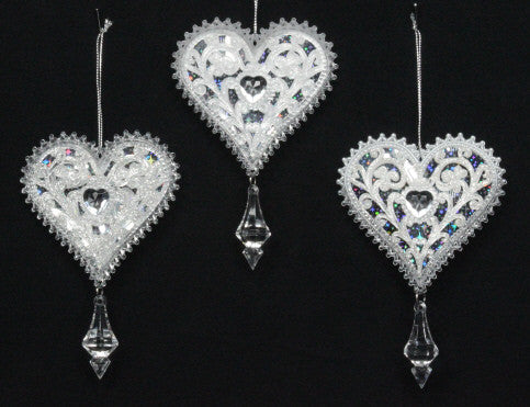 Acrylic Heart with Crystal Drop Tree Decoration