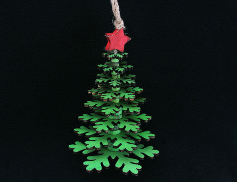 Green Wood Layered Snowflake Tree Decoration