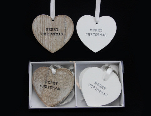 Set of 8 Natural/White Wooden Christmas Tree Decorations (Boxed)