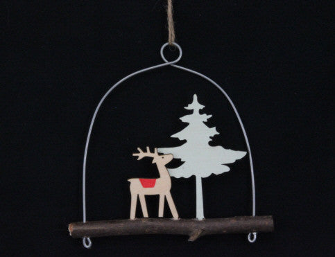 Wooden Reindeer on Log Tree Decoration