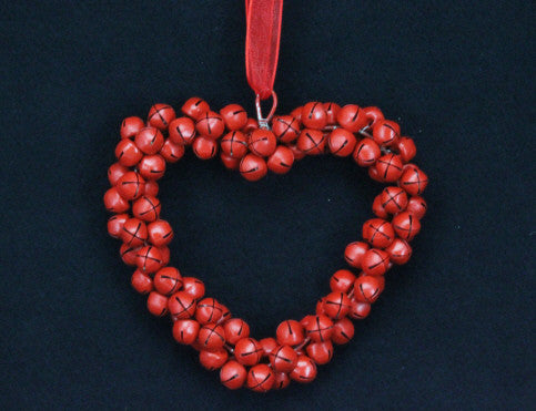 Red Jingle Bell Heart Tree Decoration