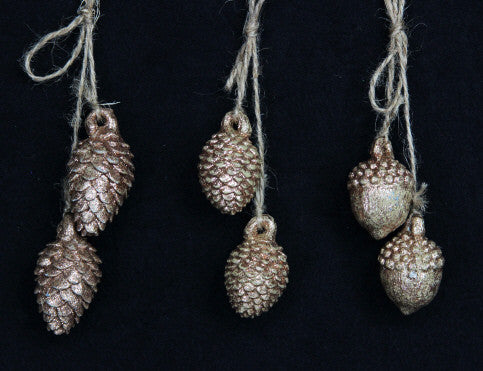 Gold Acorn & Cone on String Christmas Decoration