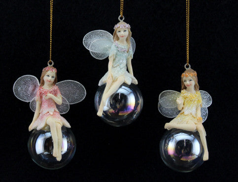 Pastel Fairy on Clear Ball Christmas Tree Decoration
