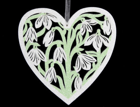 Large Wooden Snowdrop Heart Christmas Decoration