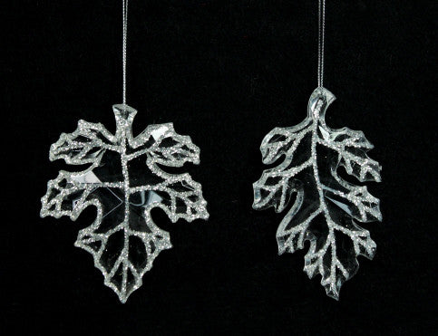 Clear Glitter Leaf Christmas Tree Decoration