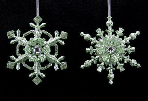 Pastel Green Glitter Snowflake Christmas Tree Decoration