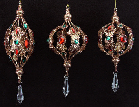 Jewelled Copper Christmas Tree Decoration