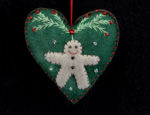 Felt Heart with Gingerbread Man Christmas Tree Decoration