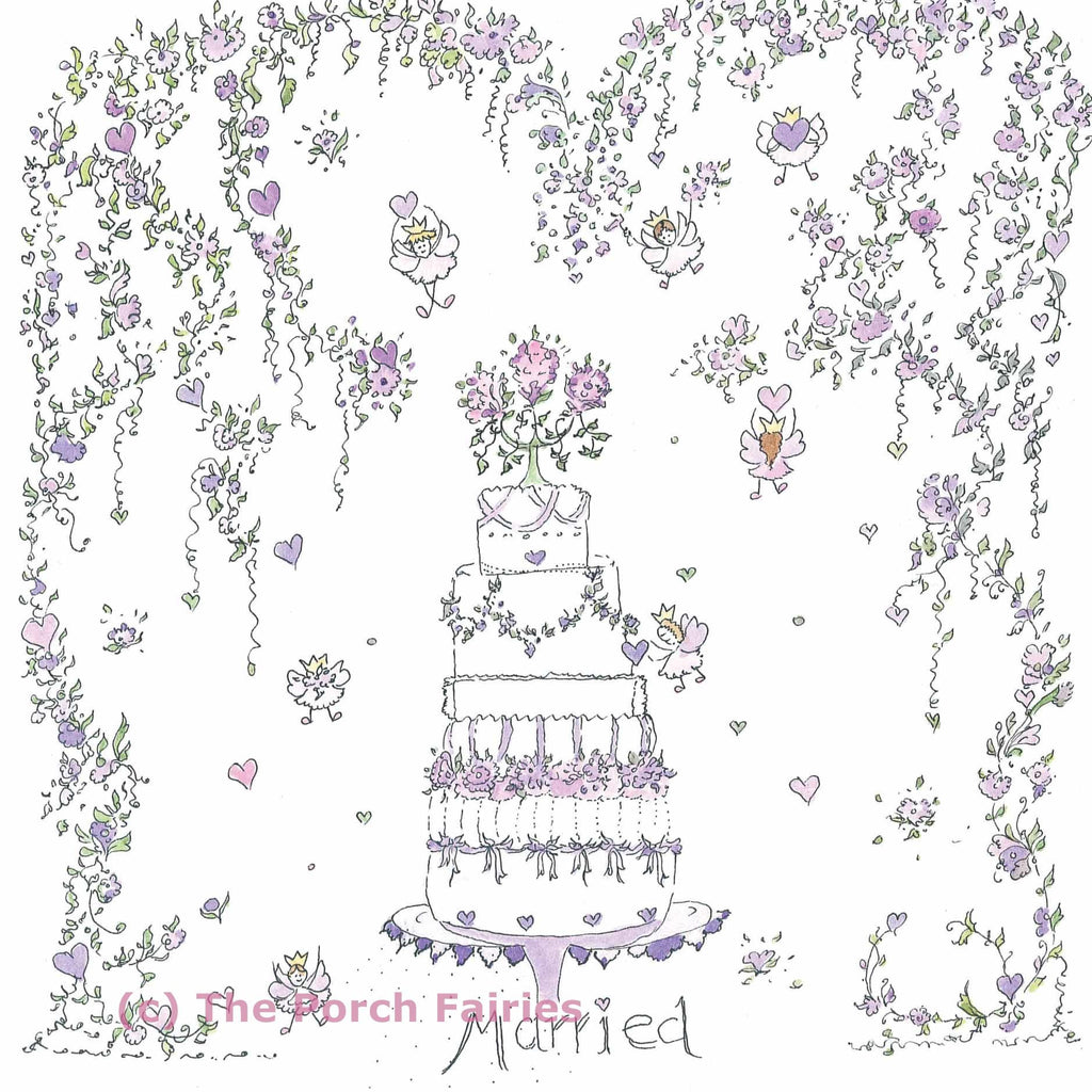 The Porch Fairies Card - Married (Cake)