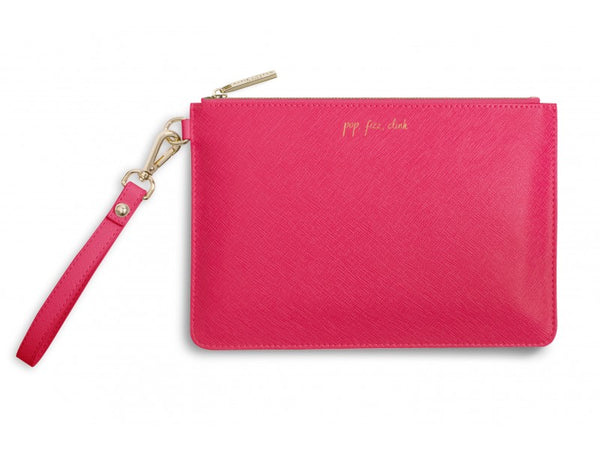 Katie Loxton Secret Message Pouch - Pop, Fizz, Clink / It's Time To Drink! (Pink)