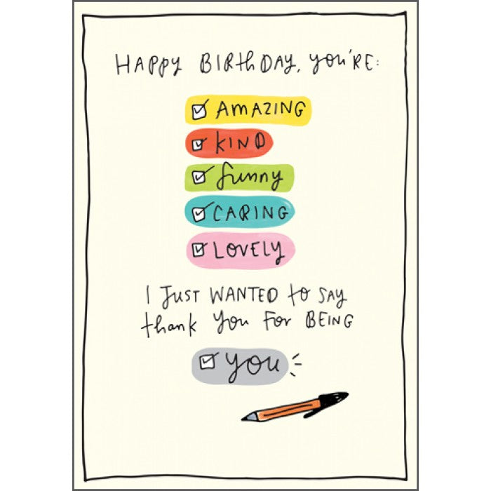 The Happy News Birthday Card - Thank You For Being You