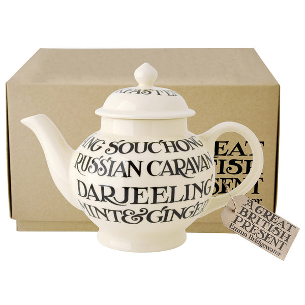 Emma Bridgewater Black Toast All Over Writing 4 Cup Teapot (Boxed)