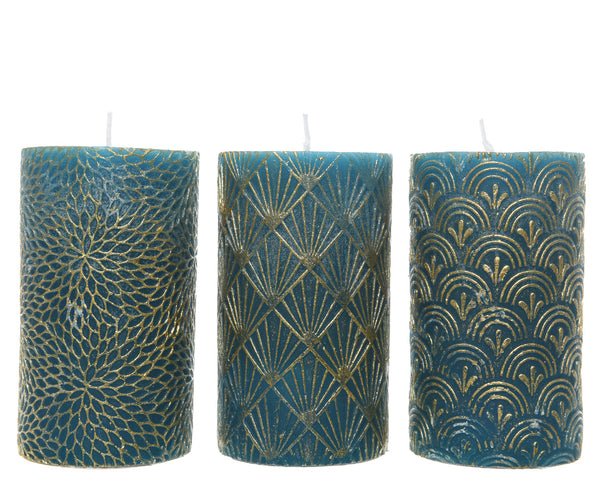 Small Teal Wax Pillar Candle