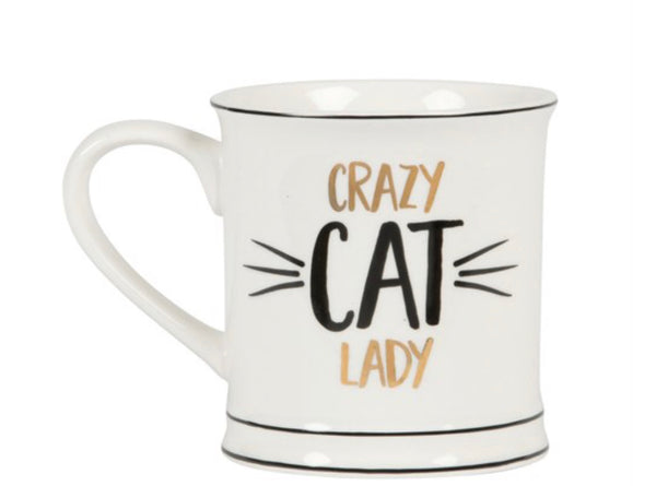 Sass & Belle Monochrome Crazy Cat Lady Mug