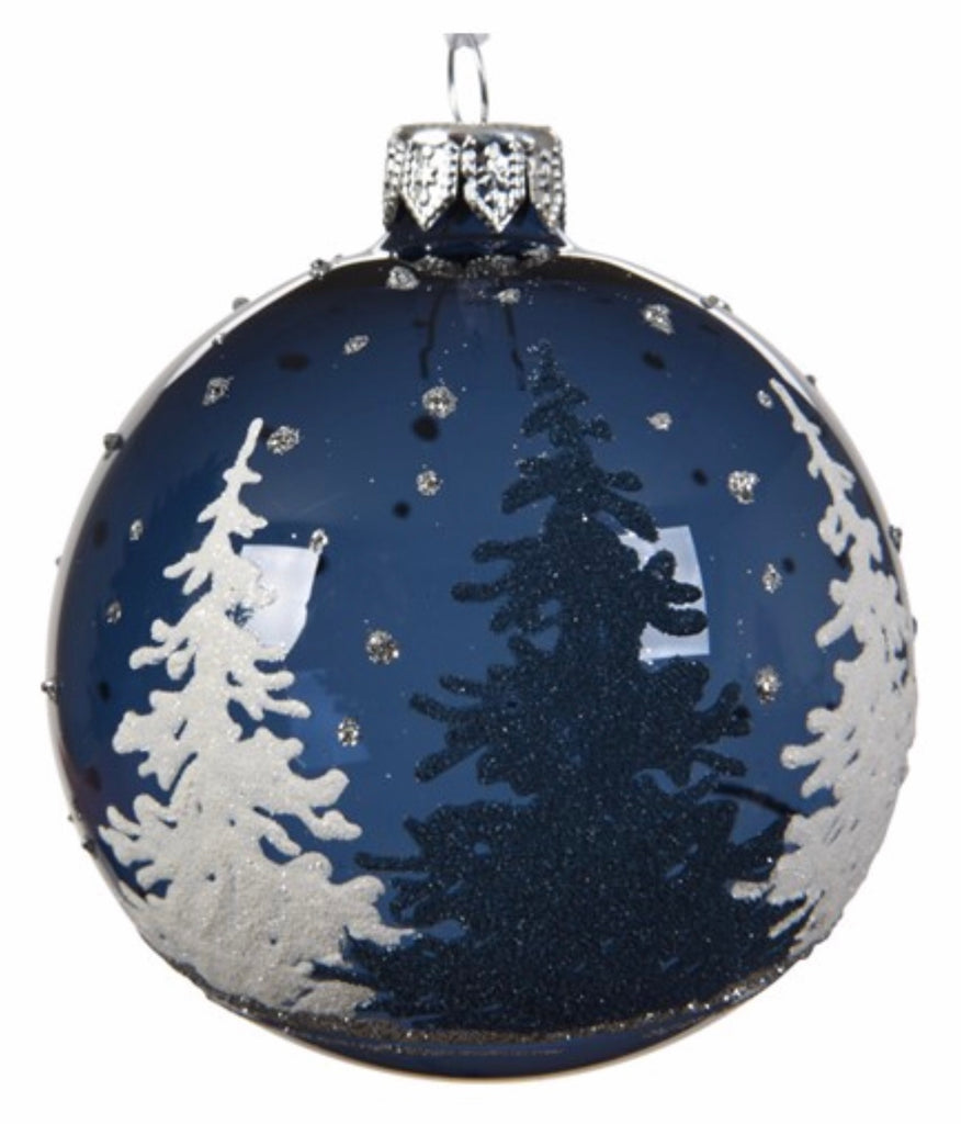 Night Blue Tree Scene Bauble