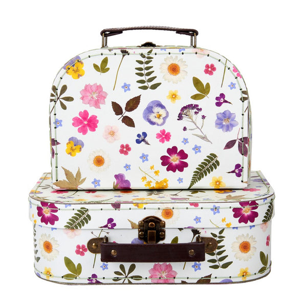 Sass & Belle Pressed Flowers Suitcases - Set Of Two