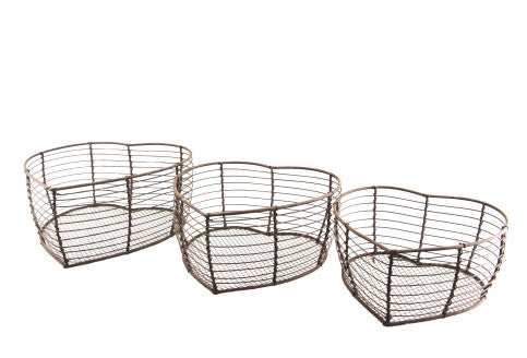 Gisela Graham Set of 3 Rusted Wire Heart Baskets