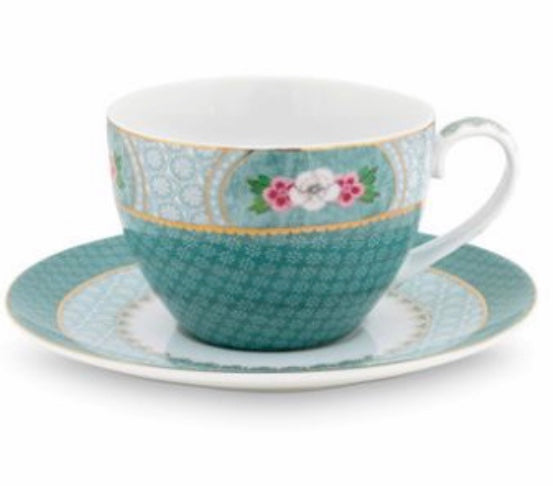 PiP Studio Blushing Birds Cappuccino Cup & Saucer - Blue