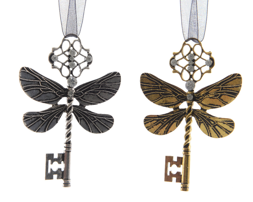 Dragonfly Key Christmas Tree Decoration - Silver/Gold