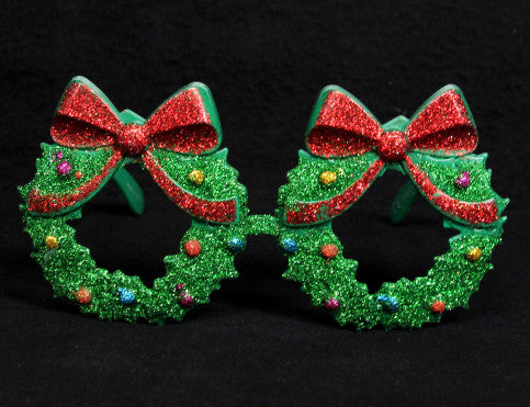Glitter Christmas Wreath Novelty Glasses