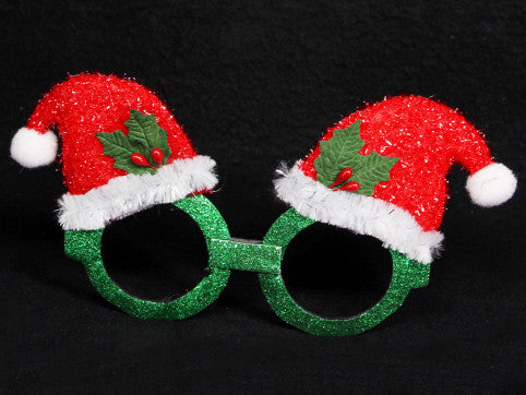 Glitter Santa Hat Novelty Christmas Glasses