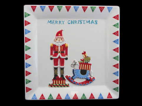 Ceramic Nutcracker Square Christmas Plate