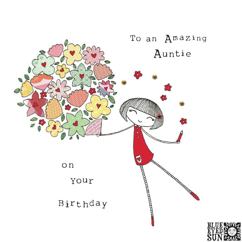 Doodle Girl Card - Birthday Auntie