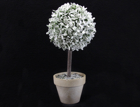 Snowy Topiary Tree in Pot Christmas Ornament