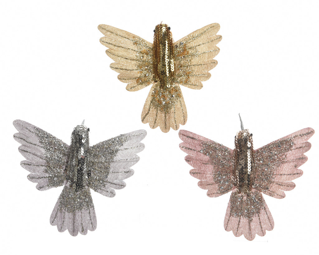 Hummingbird Christmas Tree Decoration - Gold/Silver/Pink