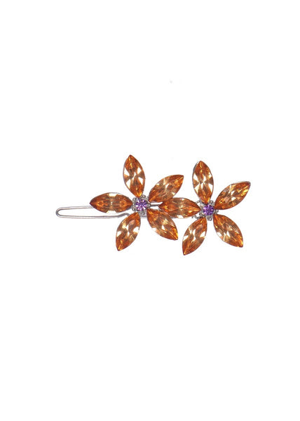 Powder Crystal Flower Hair Clips - Amber