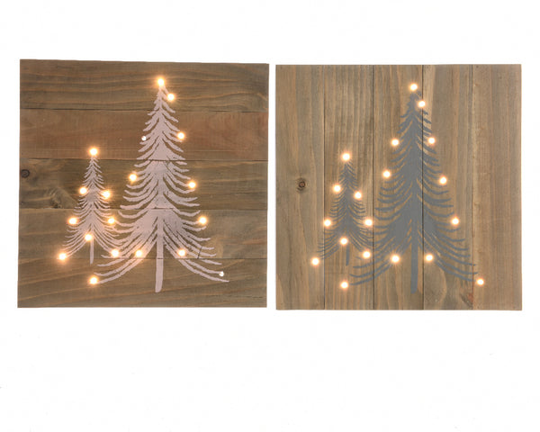 LED Wooden Christmas Tree Wall Art - White/Grey