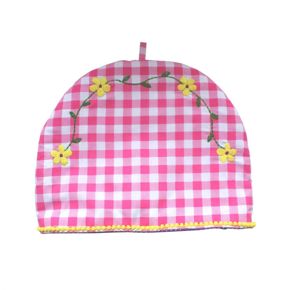 Bombay Duck Embroidered Tea Cosy - Fuchsia Gingham
