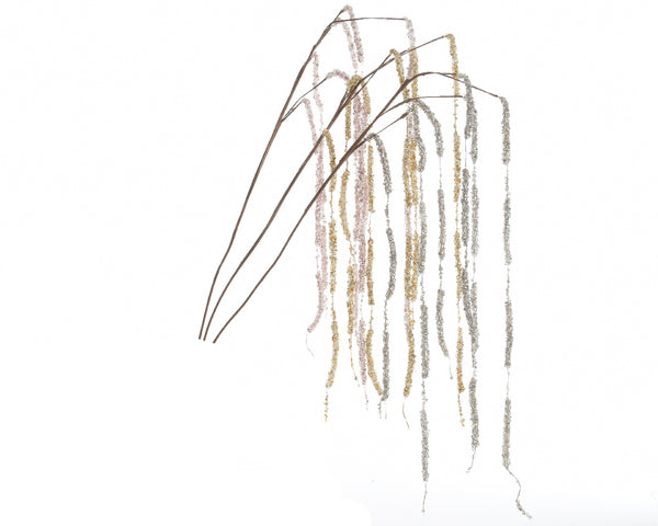 Glitter Weeping Willow Stem - White/Gold/Silver