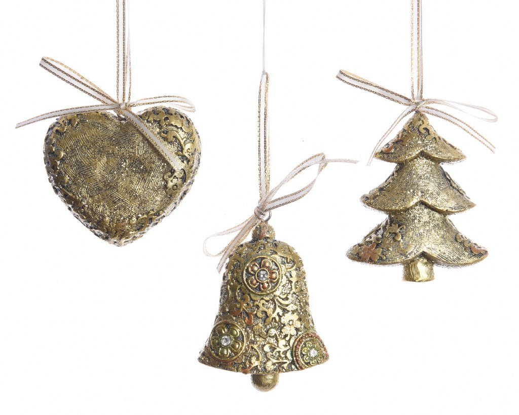 Gold Christmas Tree Decoration - Heart/Bell/Christmas Tree