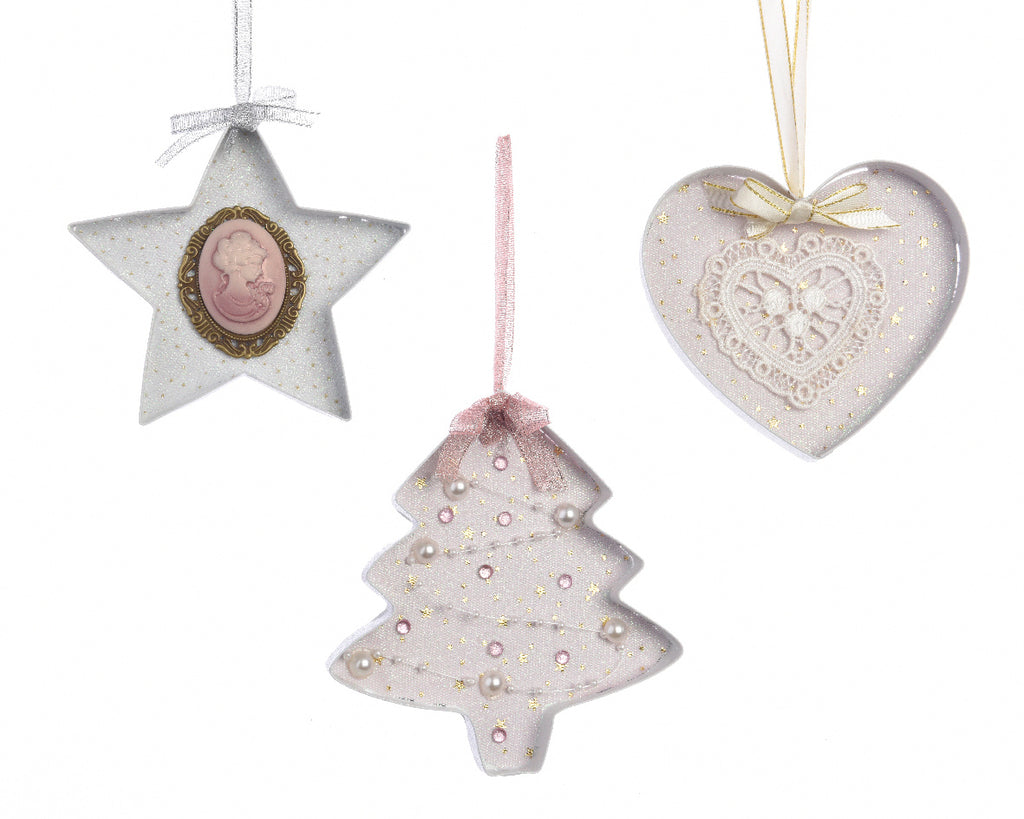 Pink/White Glitter Christmas Tree Decoration - Star/Tree/Heart