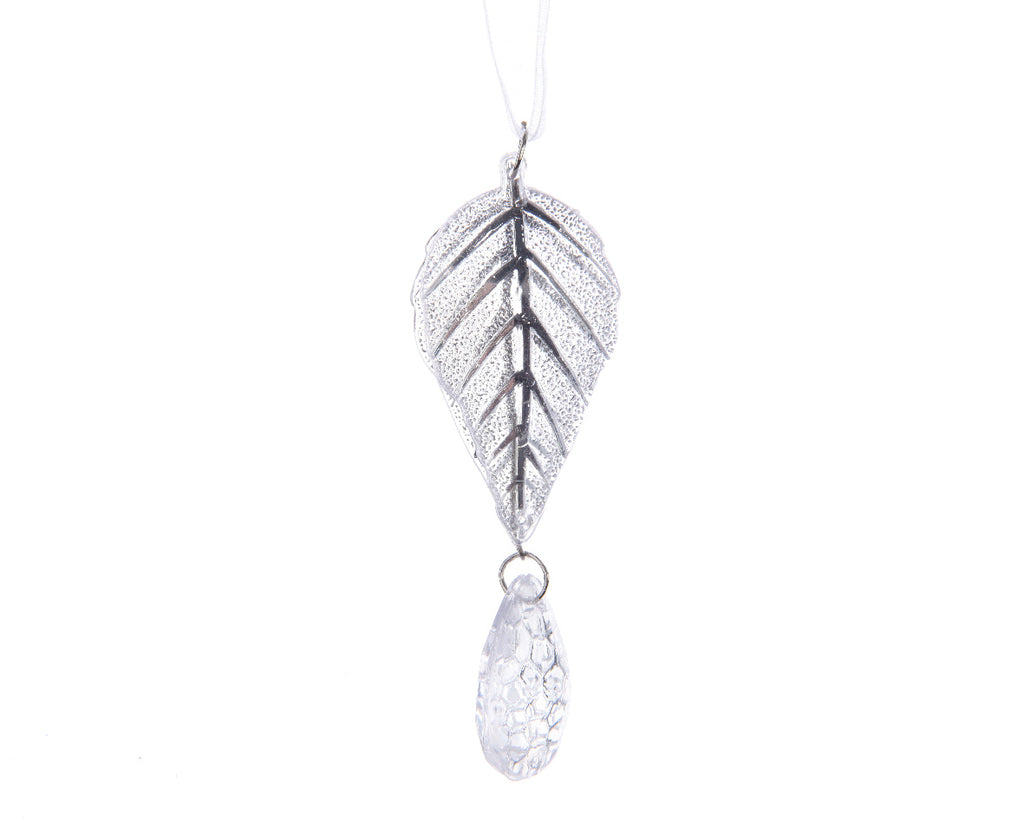Set of 2 Acrylic Clear Leaf Christmas Tree Decorations