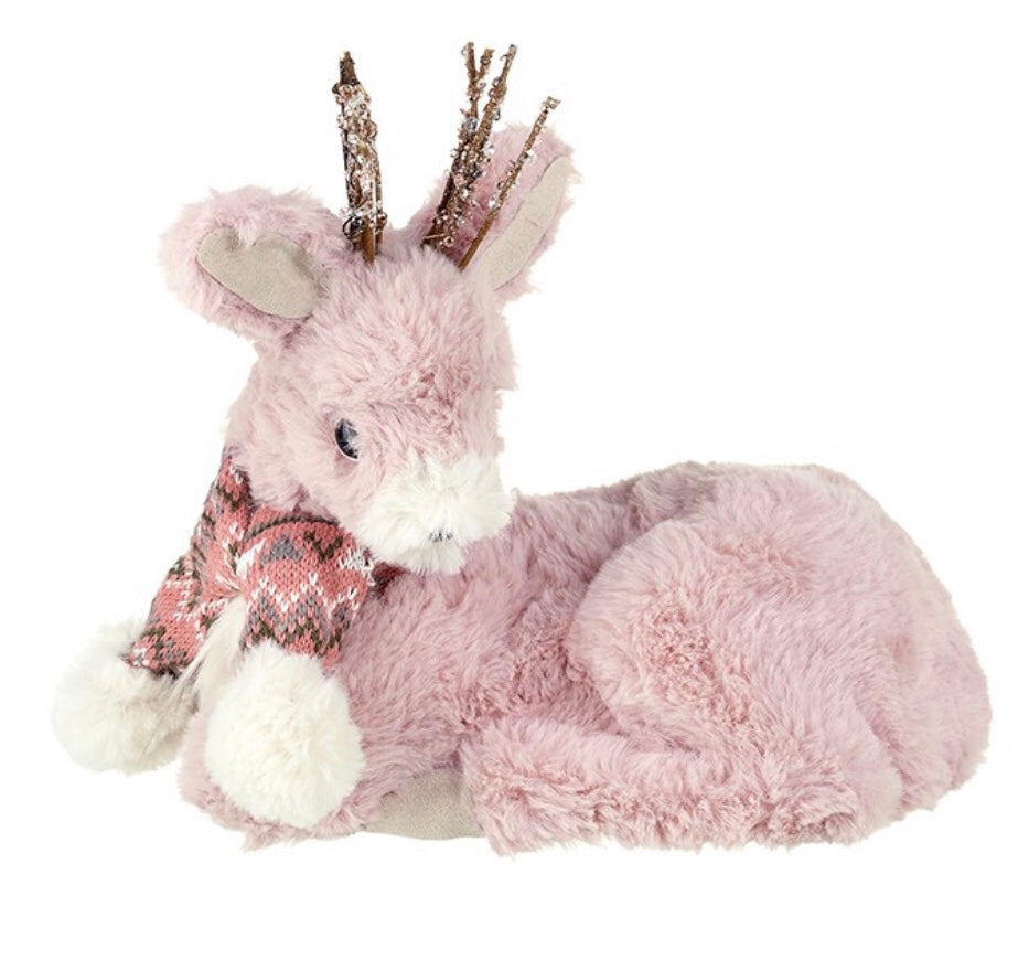 Pink Plush Deer Sitting Decoration