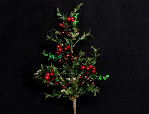 Gold Leaf & Red Berry Christmas Branch