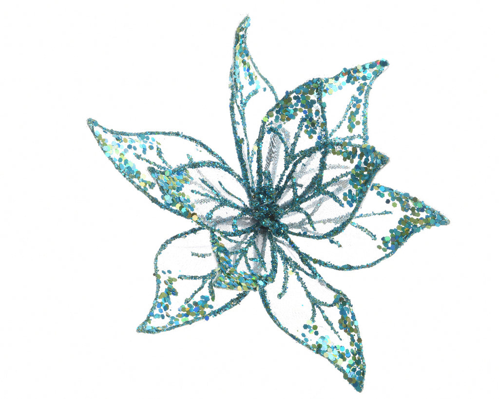 Organza Glitter Flower Clip-On Christmas Tree Decoration - Blue