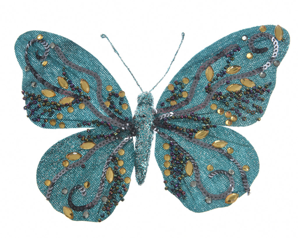 Small Blue Glitter Butterfly Clip-On Christmas Tree Decoration