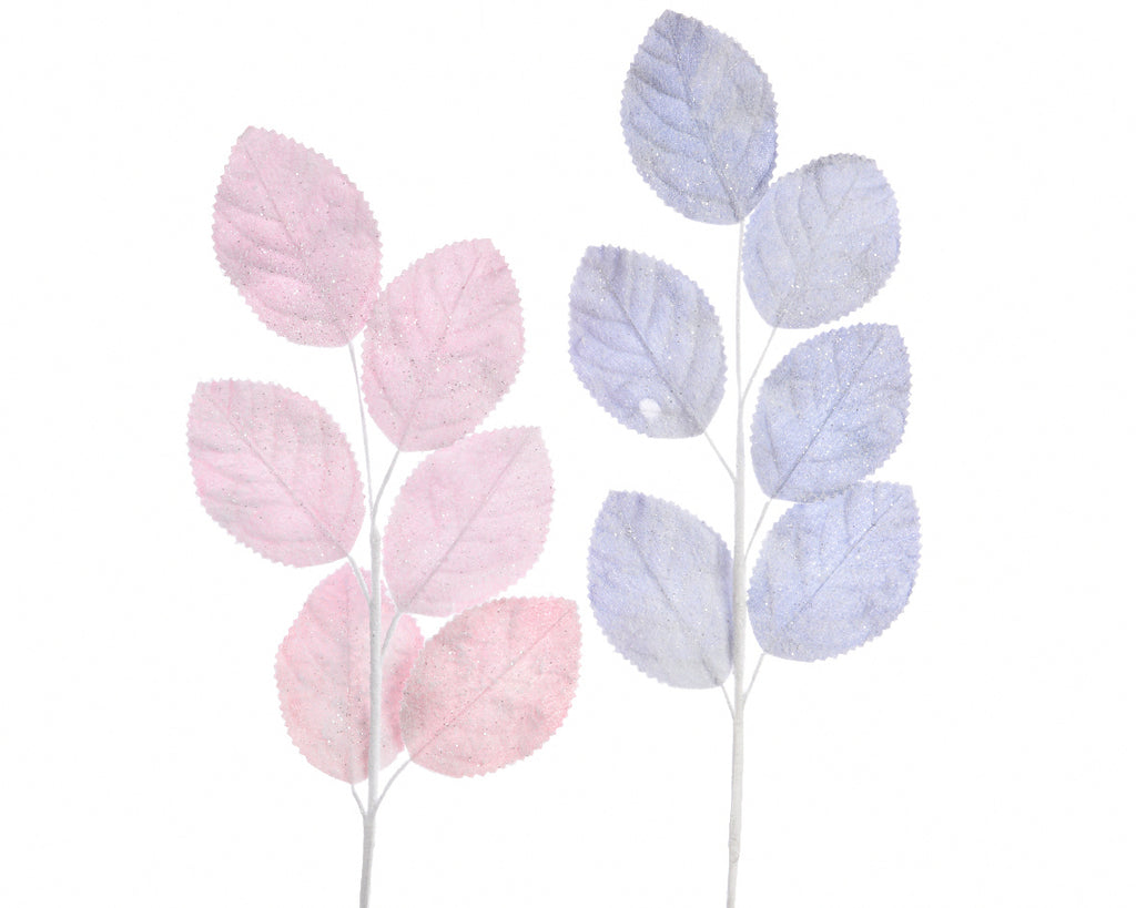 Large Glitter Leaf Spray - Pink/Lilac
