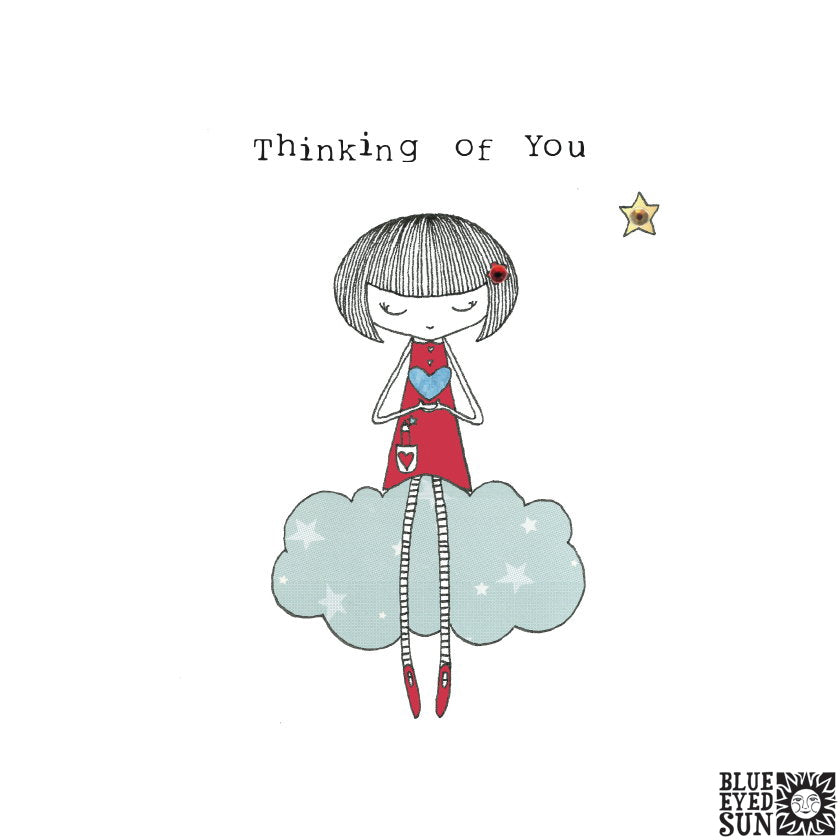 Doodle Girl Card - Thinking Of You