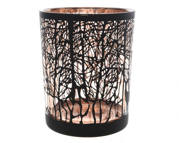 Small Glass Black/Copper Deer Tealight Holder
