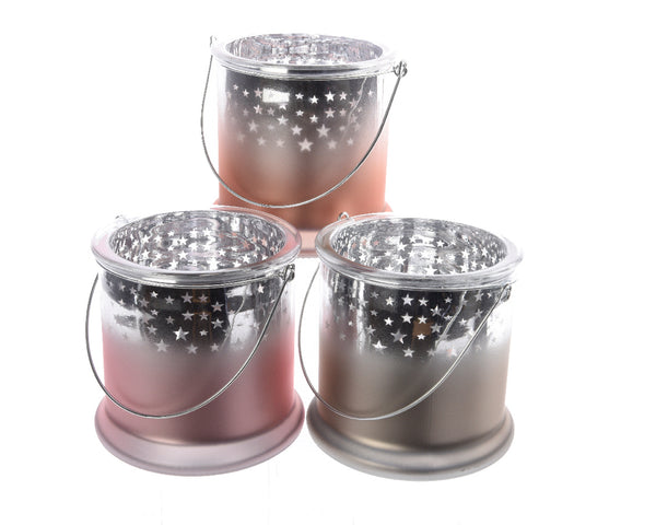 Glass Star Hurricane Lamp - Orange/Pink/Silver