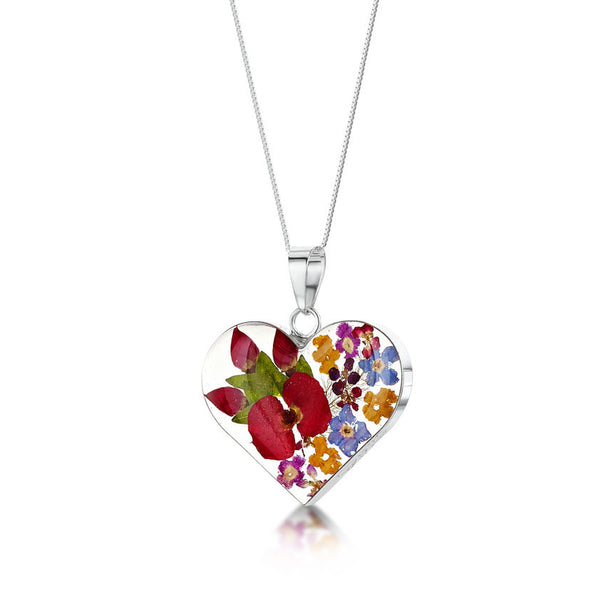 Shrieking Violet Mixed Flower/Rose Pendant Necklace - Medium Heart