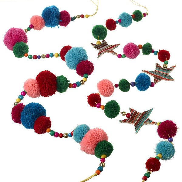 Bright Pom Pom Garland - Set of 2