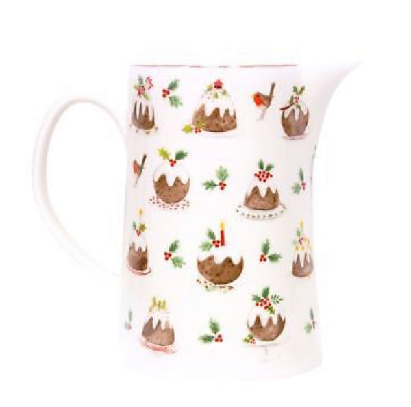 Gisela Graham Plum Pudding Bone China Christmas Jug - Medium