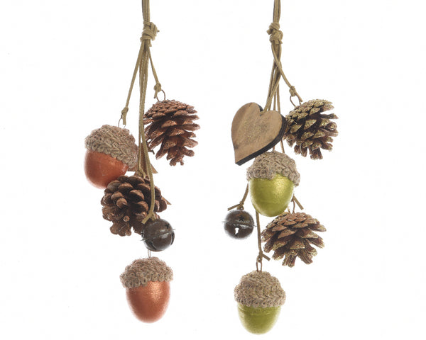 Acorn & Pinecone Hanging Decoration - Orange/Green
