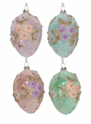 Gisela Graham Glass Egg With Embroidered Flowers